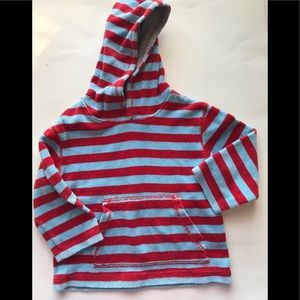 MINI BODEN 2/3Y Blue Red Stripe Terry Hoodie